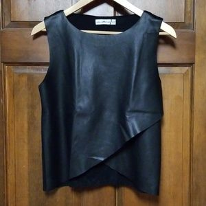 Zara Knit Faux Leather Sleeveless Blouse, Size S